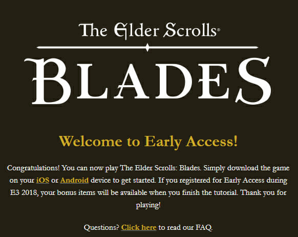 The Elder Scrolls Blades Early Access